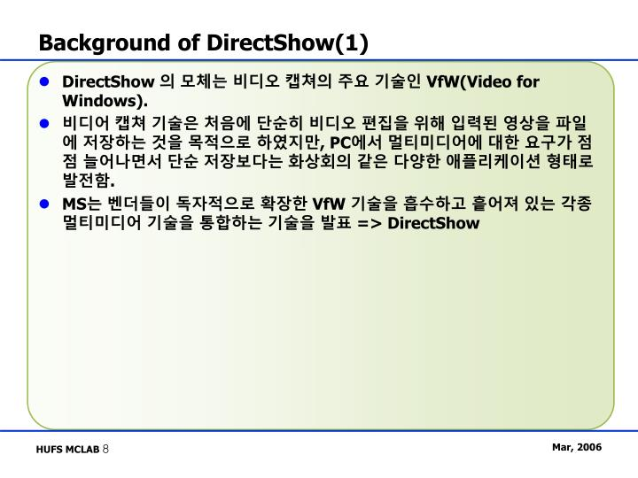 Background of DirectShow(1)
