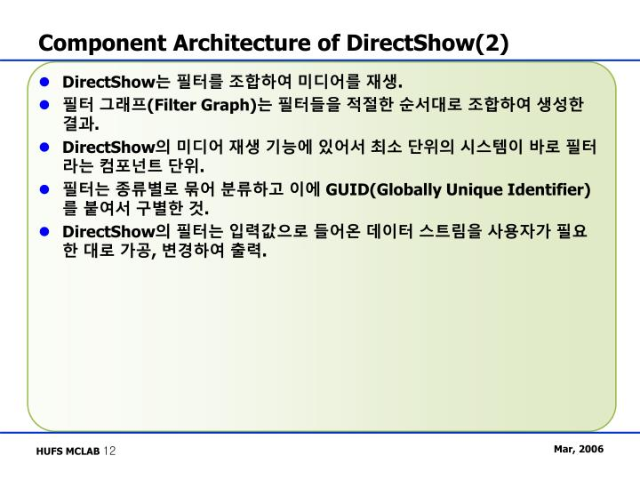 Component Architecture of DirectShow(2)