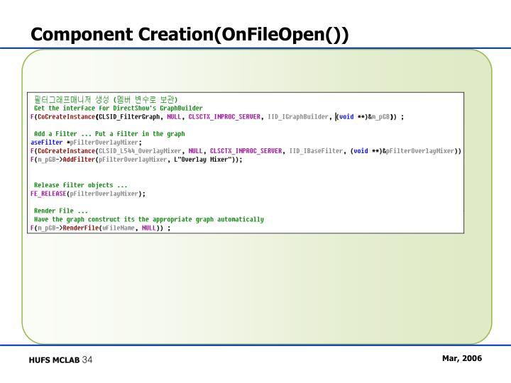 Component Creation(OnFileOpen())
