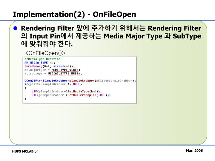 Implementation(2) - OnFileOpen