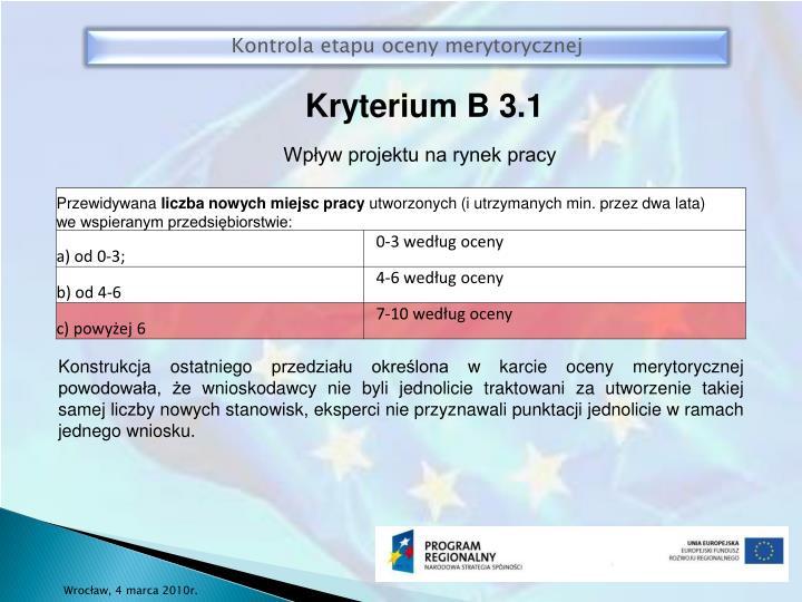 Kryterium B 3.1