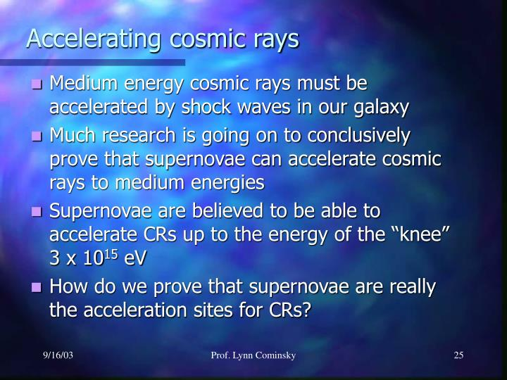 Accelerating cosmic rays