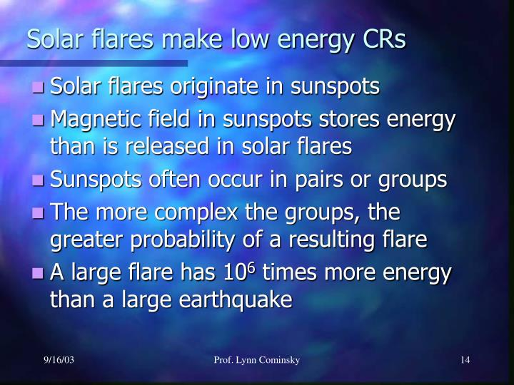 Solar flares make low energy CRs