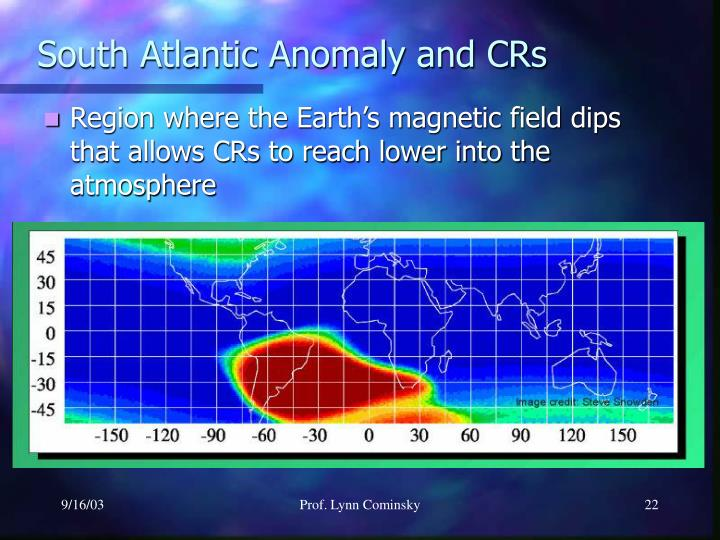 South Atlantic Anomaly and CRs