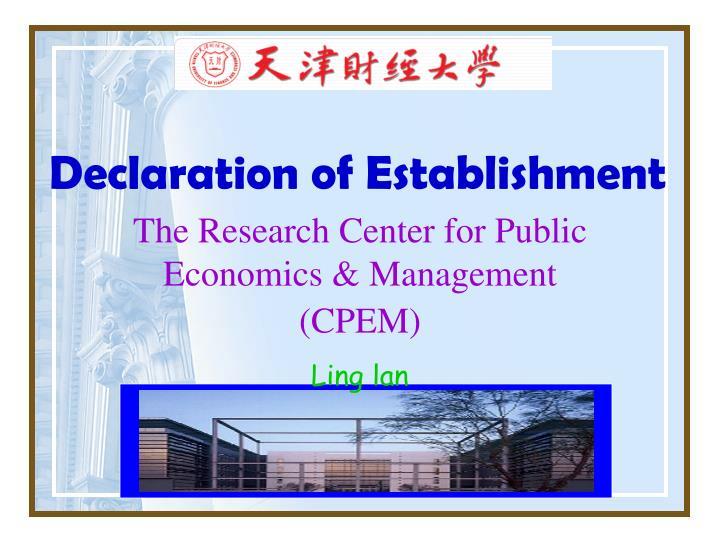 Declaration of Establishment