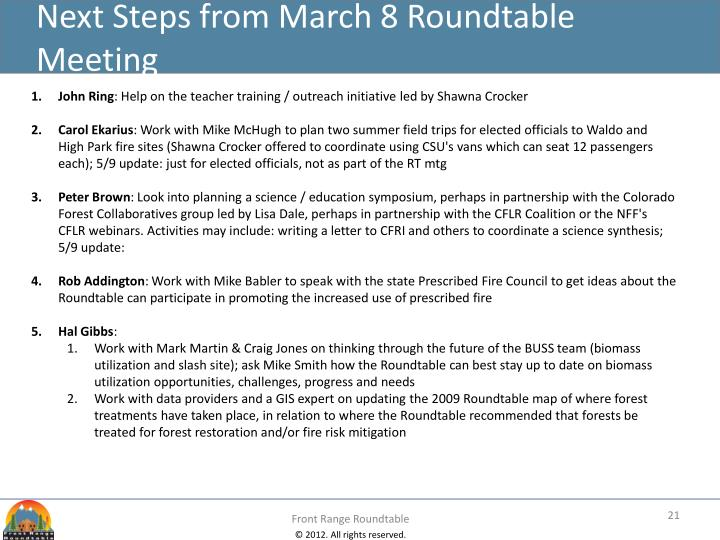 Next Steps from March 8 Roundtable Meeting
