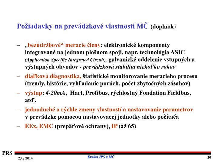 Požiadavky na prevádzkové vlastnosti MČ