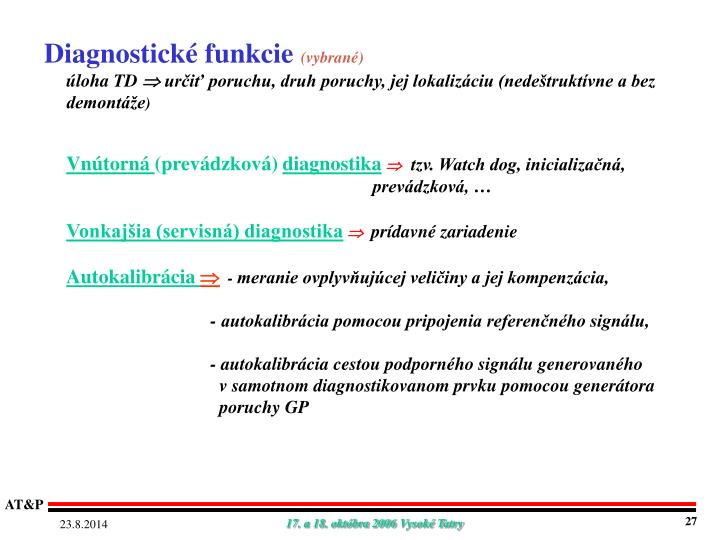 Diagnostické funkcie