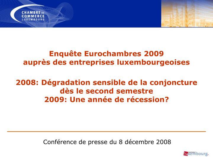 Enquête Eurochambres 2009