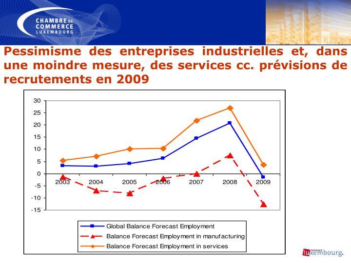 Pessimisme des entreprises industrielles et, dans une moindre mesure, des services cc. prévisions de recrutements en 2009