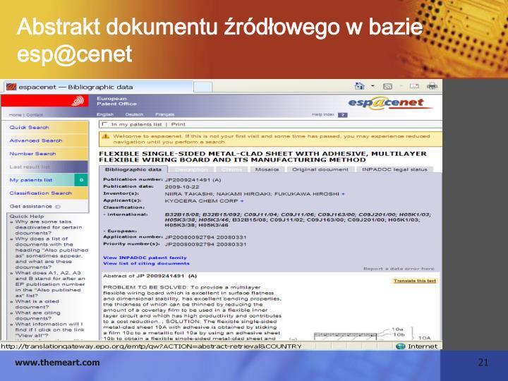 Abstrakt dokumentu źródłowego w bazie