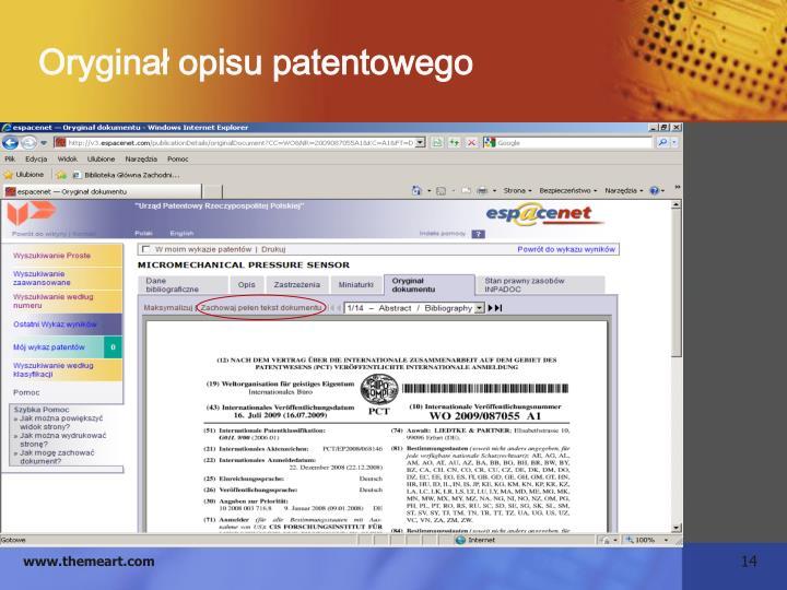 Oryginał opisu patentowego