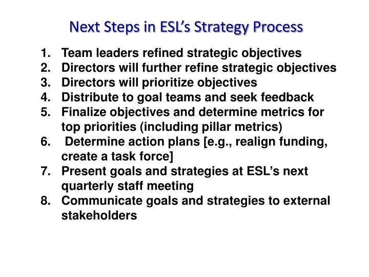 Next Steps in ESL