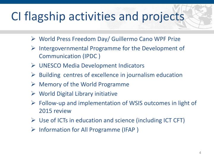 CI flagship activities and projects