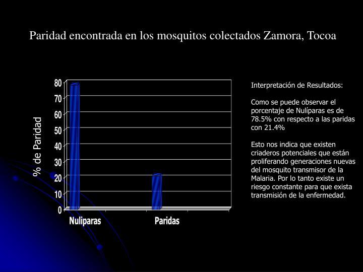 Paridad encontrada en los mosquitos colectados Zamora, Tocoa