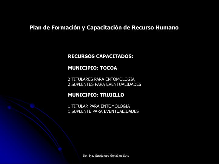 Plan de Formación y Capacitación de Recurso Humano
