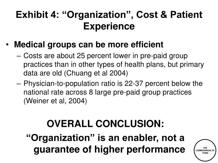 "Exhibit 4: ""Organization"", Cost & Patient Experience"