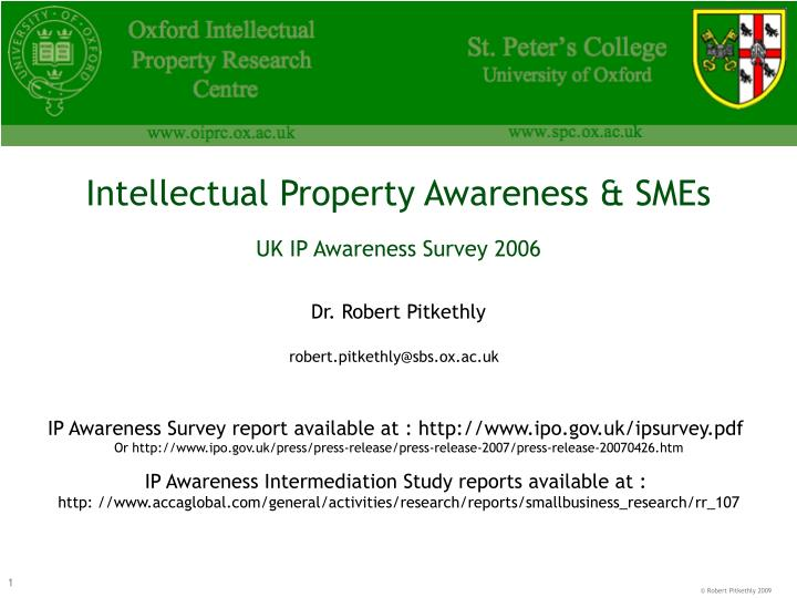 Intellectual Property Awareness & SMEs