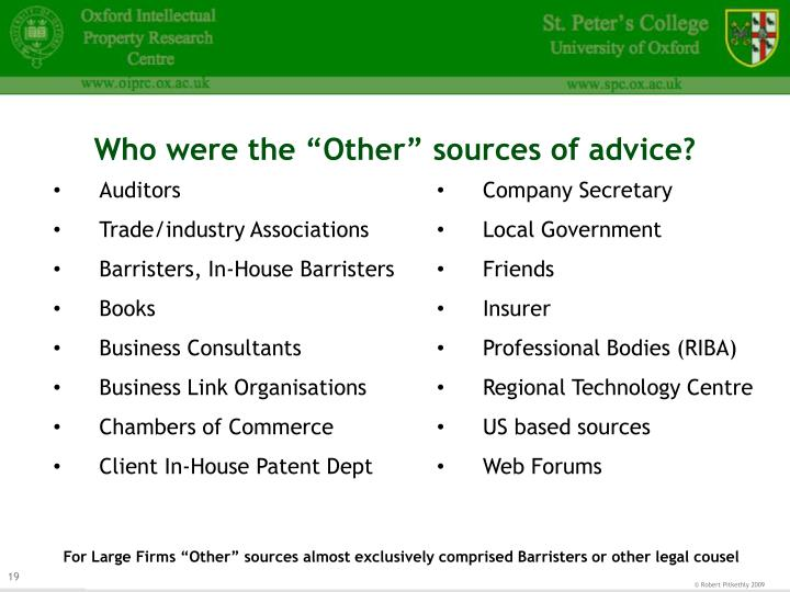 "Who were the ""Other"" sources of advice?"