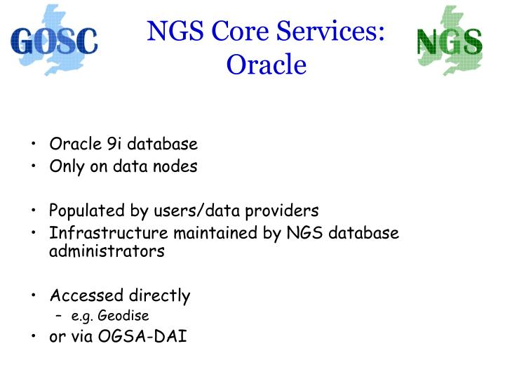NGS Core Services: