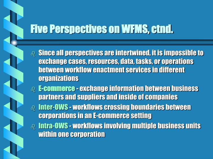 Five Perspectives on WFMS, ctnd.
