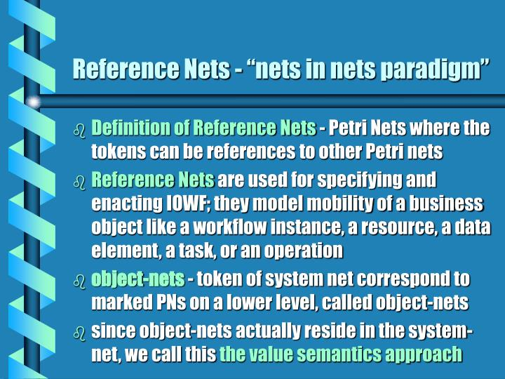 "Reference Nets - ""nets in nets paradigm"""