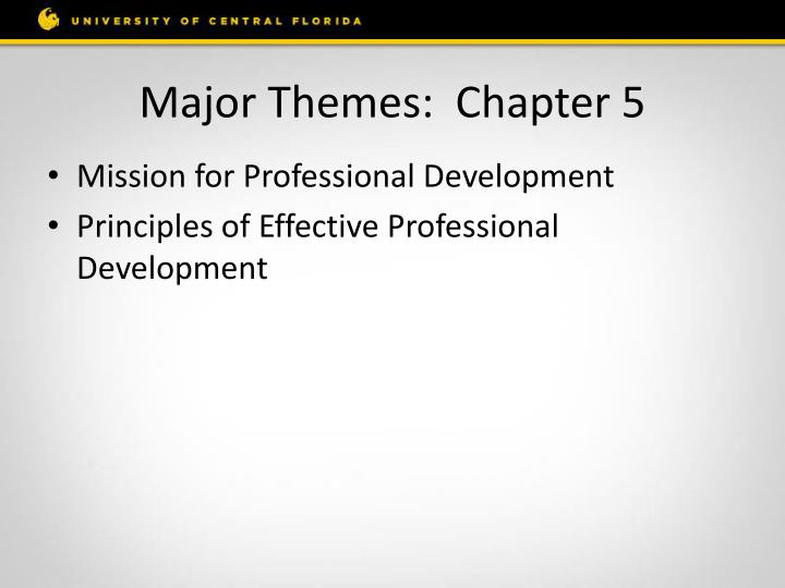 Major Themes:  Chapter 5
