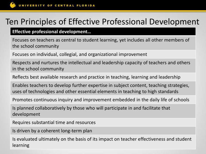 Ten Principles of Effective Professional Development