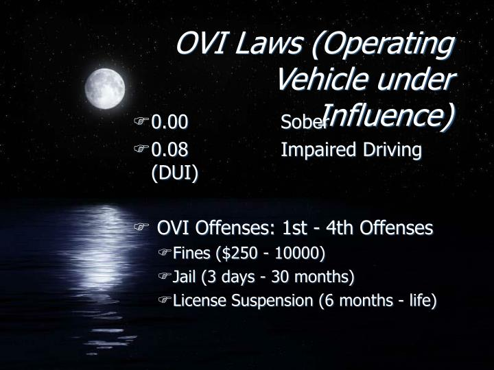 OVI Laws (Operating Vehicle under Influence)
