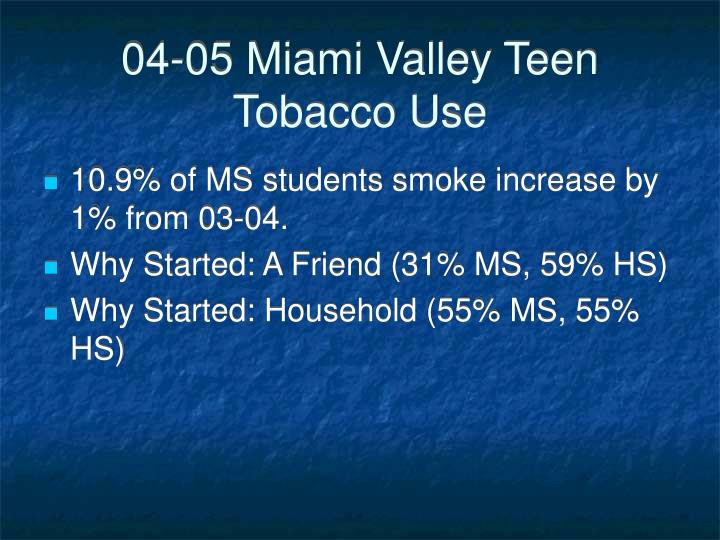 04 05 miami valley teen tobacco use