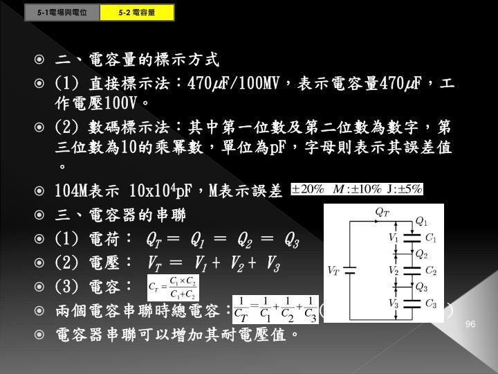 二、電容量的標示方式