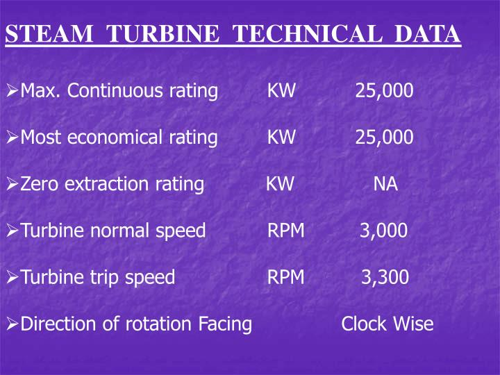 STEAM  TURBINE  TECHNICAL  DATA
