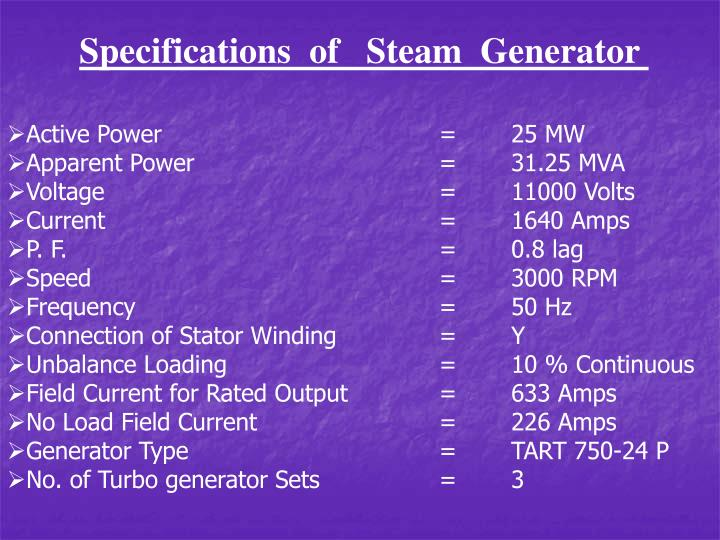 Specifications  of   Steam  Generator