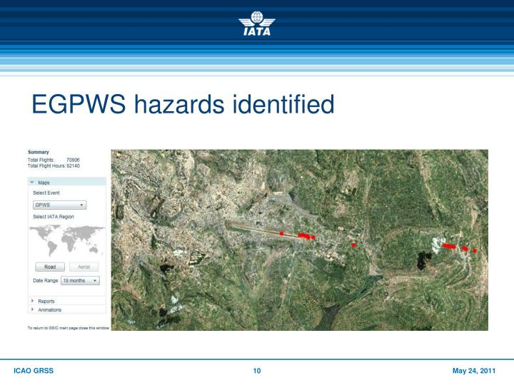 EGPWS hazards identified