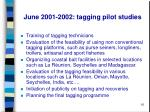 june 2001 2002 tagging pilot studies