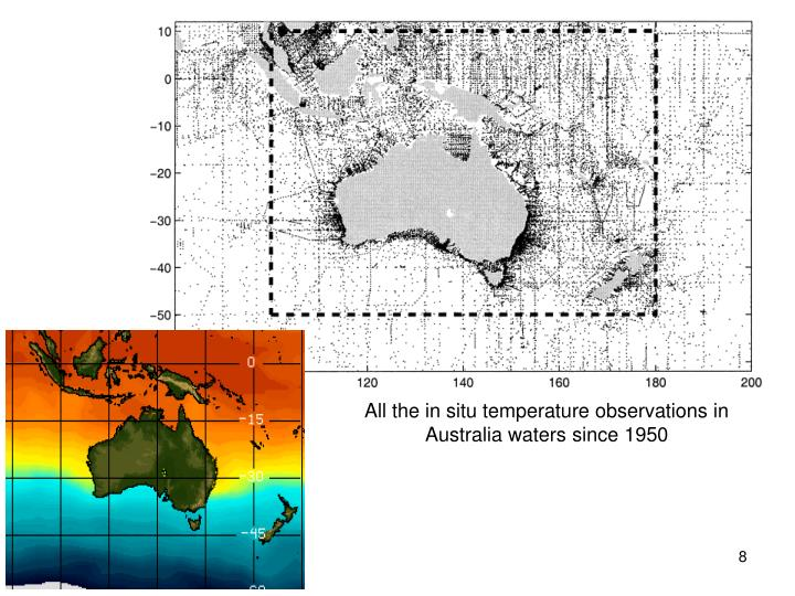 All the in situ temperature observations in Australia waters since 1950