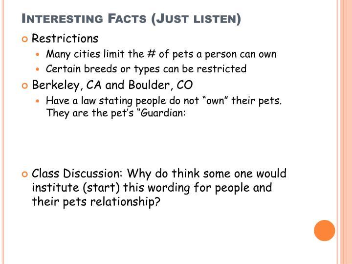 Interesting Facts (Just listen)