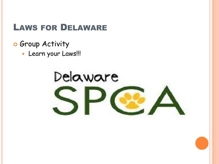 Laws for Delaware