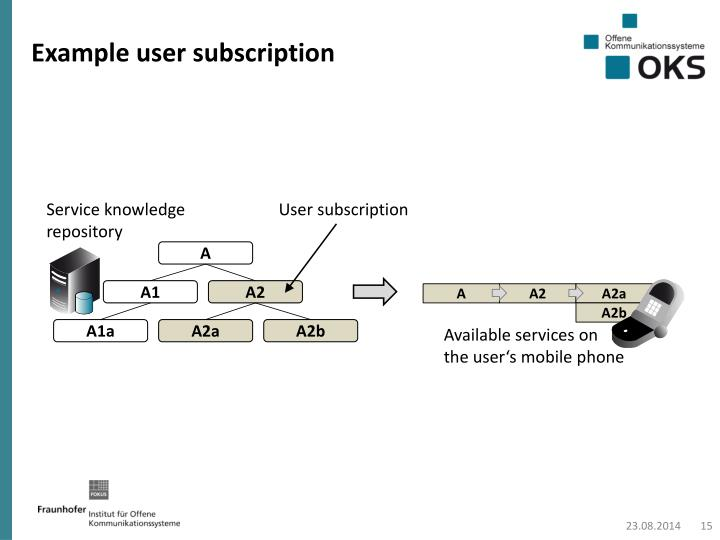 Example user subscription