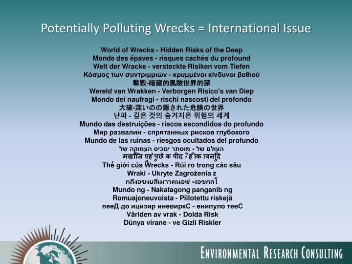 Potentially polluting wrecks international issue
