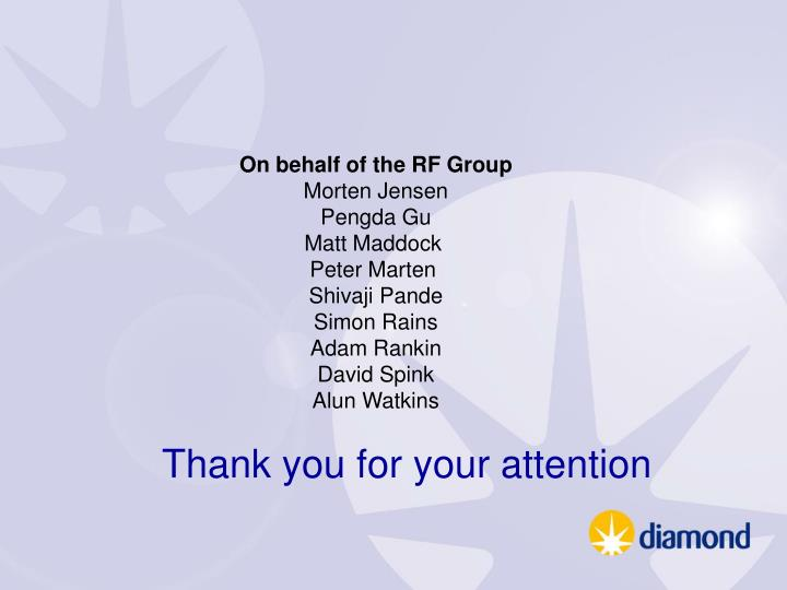 On behalf of the RF Group