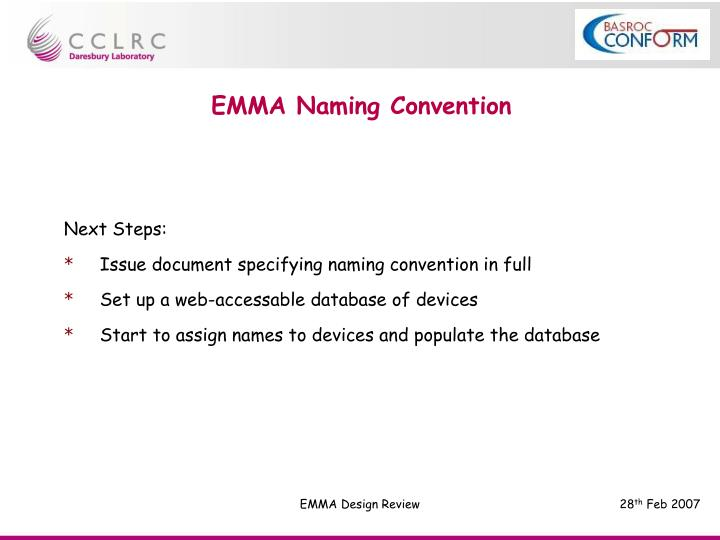 EMMA Naming Convention