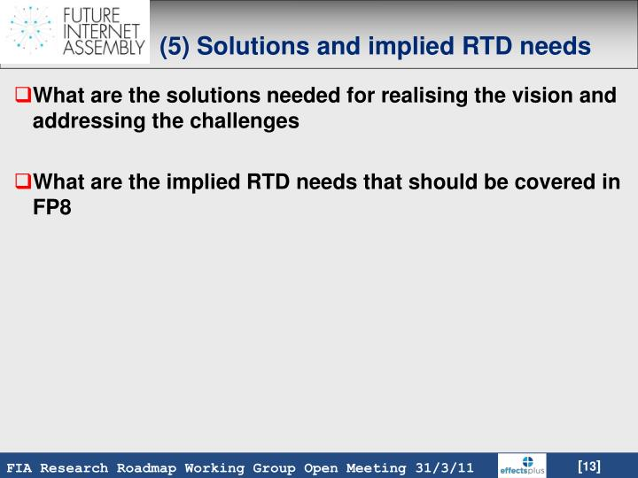 (5) Solutions and implied RTD needs