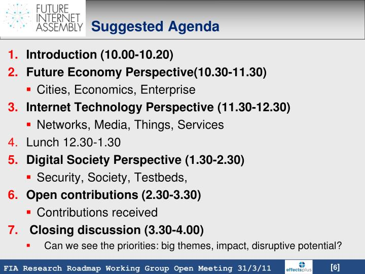 Suggested Agenda