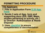 permitting procedure
