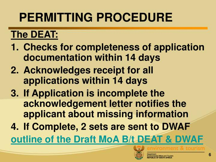 PERMITTING PROCEDURE