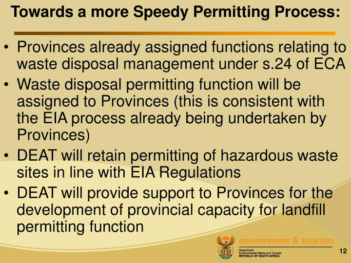 Towards a more Speedy Permitting Process: