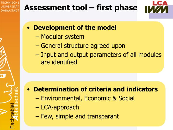 Assessment tool – first phase