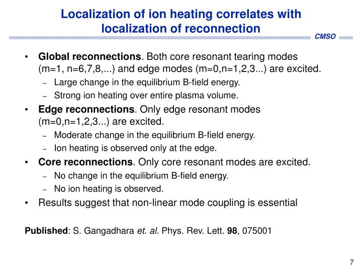Localization of ion heating correlates with localization of reconnection