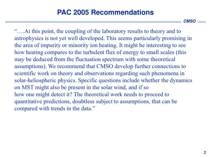 Pac 2005 recommendations
